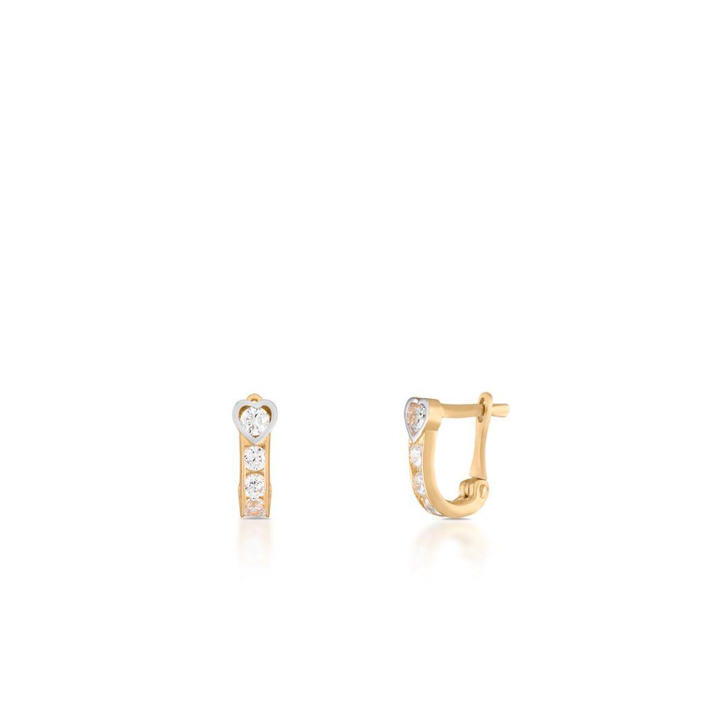 W.KRUK Wyjątkowe Złote Kolczyki – złoto 585, Cyrkonia – ZRR/KC04