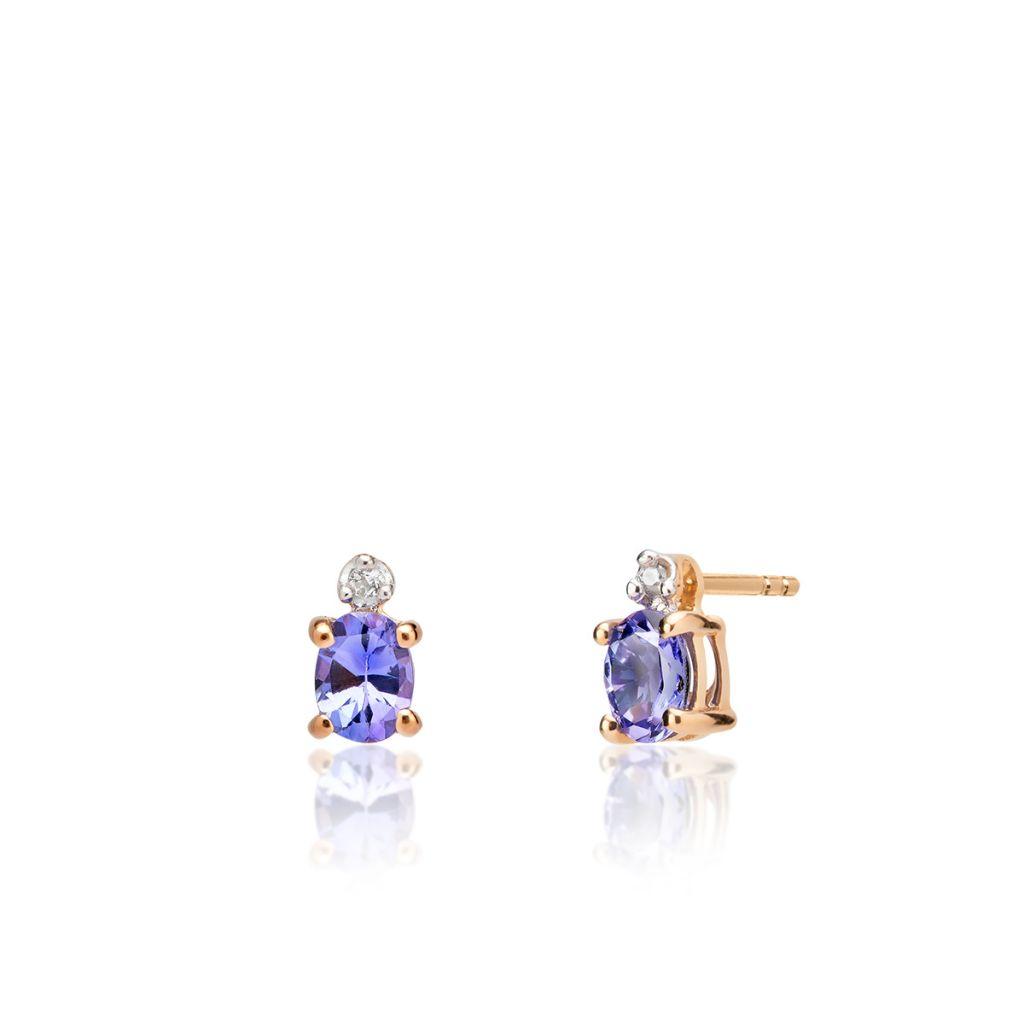 W.KRUK Piękne Kolczyki Złote – złoto 375, Tanzanit,biały topaz – ZVK/KW80