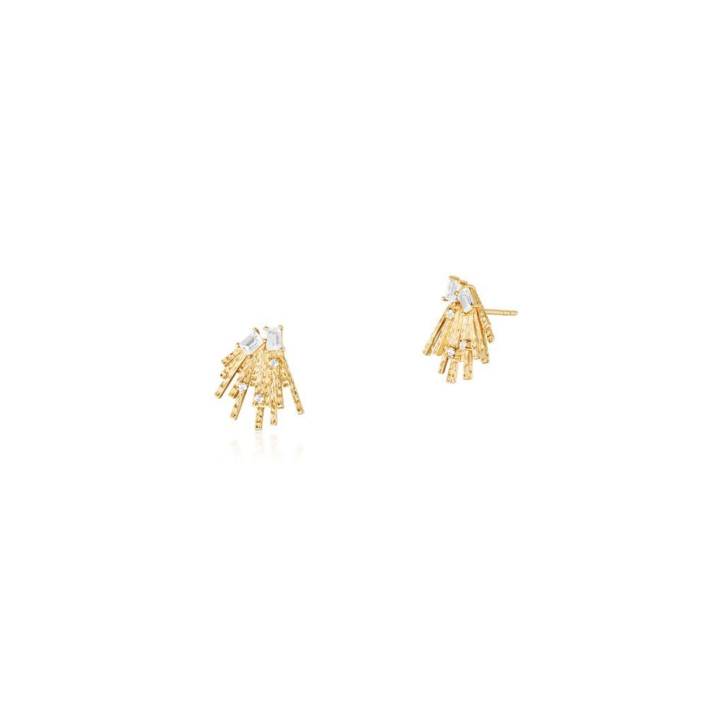 W.KRUK Wyjątkowe Złote Kolczyki – złoto 375, Biały topaz – ZDL/KT18