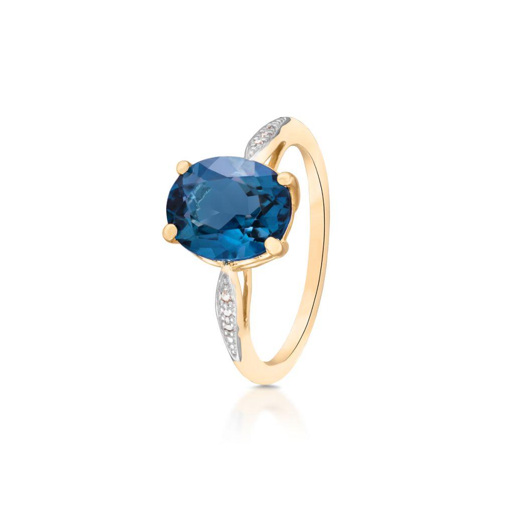 W.KRUK Pierścionek Złoty – złoto 585, Diament 0,01ct,topaz london blue – ZIN/PB+280K