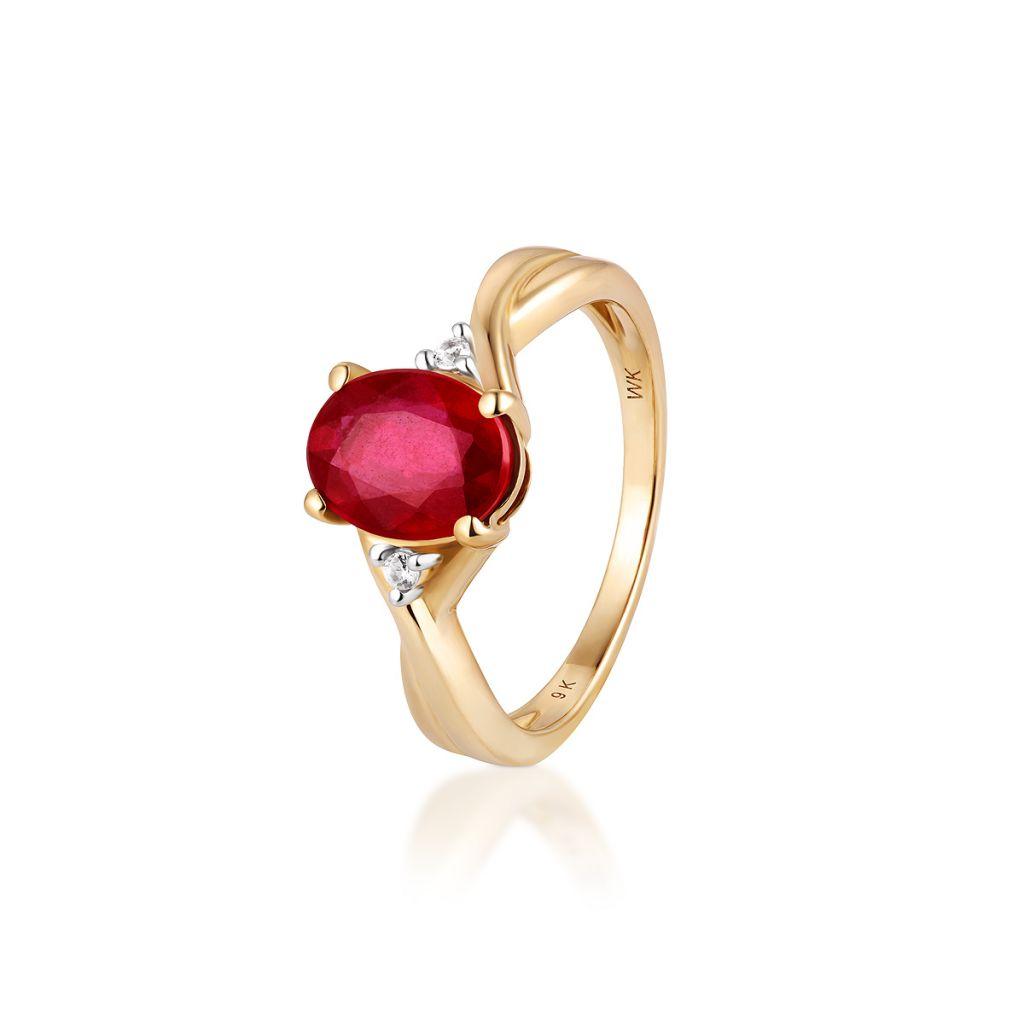 W.KRUK Piękny Pierścionek Złoty – złoto 585, Cyrkon,rubin traktowany – ZVK/PU10