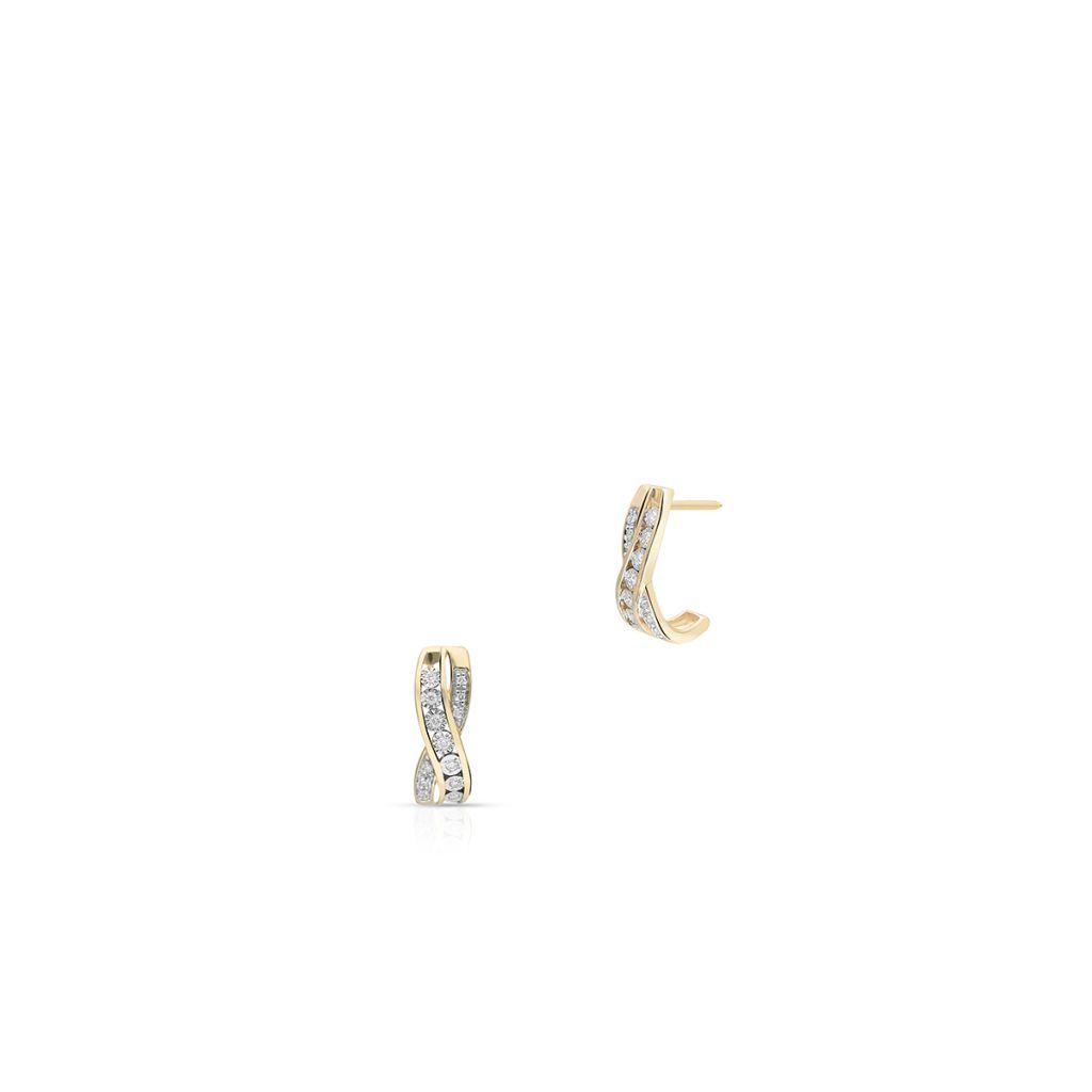 W.KRUK Piękne Złote Kolczyki – złoto 585, Diament 0,02ct,brylant 0,06ct – ZCG/K+1063K