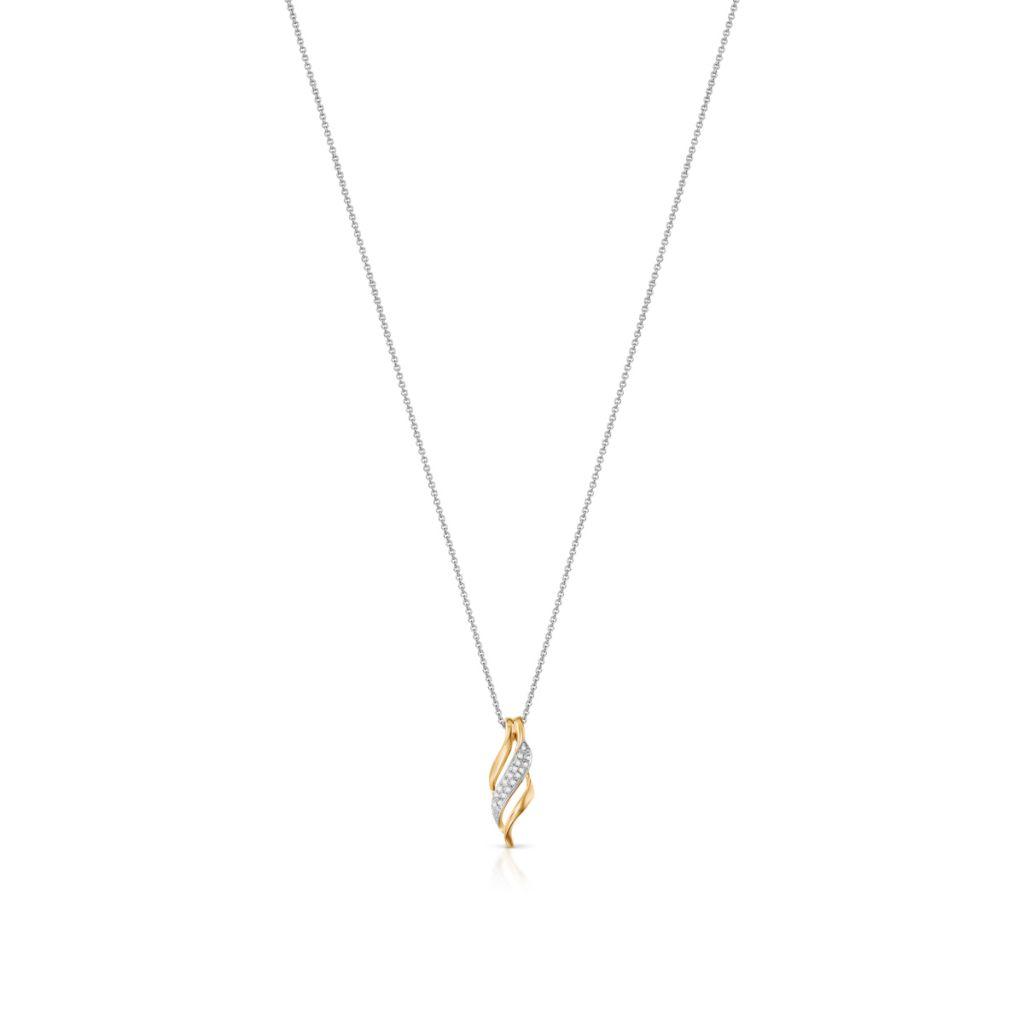 W.KRUK Wyjątkowy Złoty Wisiorek – złoto 585, Diament 0,06ct – ZFX/WB+19BK