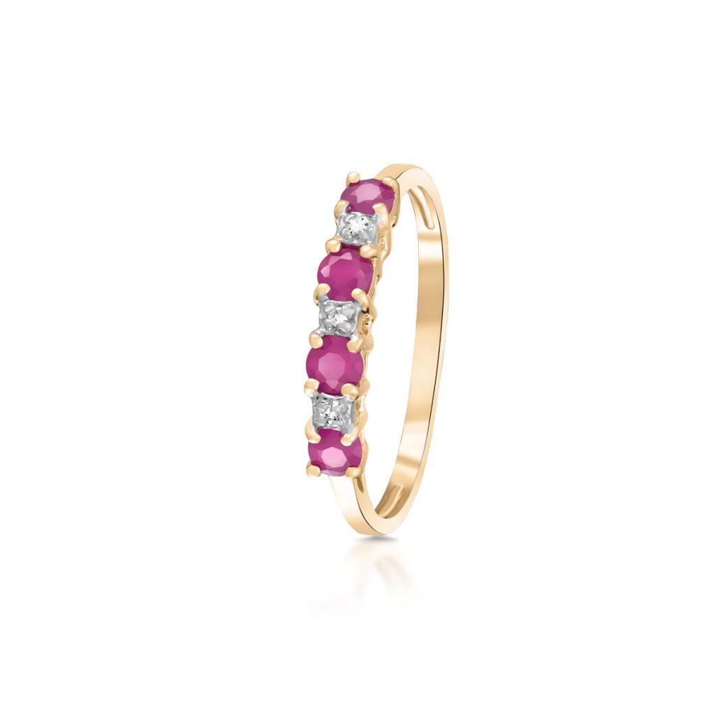 W.KRUK Unikalny Pierścionek Złoty – złoto 585, Diament 0,015ct,rubin – ZHH/PB+18