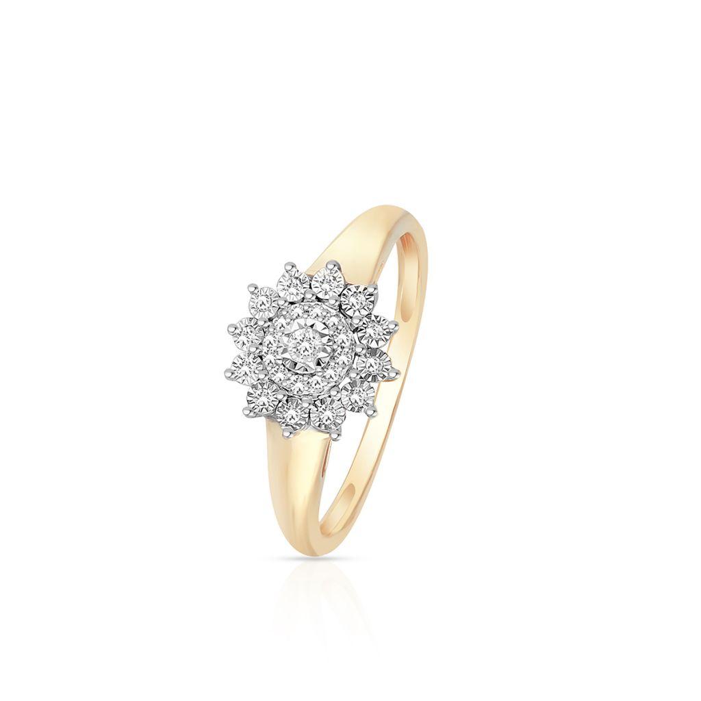 W.KRUK Wyjątkowy Złoty Pierścionek – złoto 585, Diament 0,07ct,brylant 0,02ct – ZCG/P+1061K