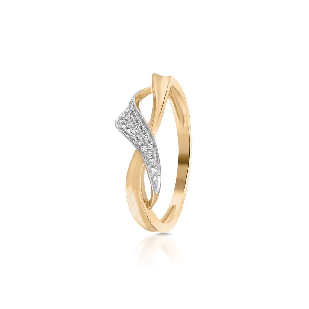 W.KRUK Zjawiskowy Pierścionek Złoty – złoto 585, Diament 0,07ct – ZFX/PB+12BK