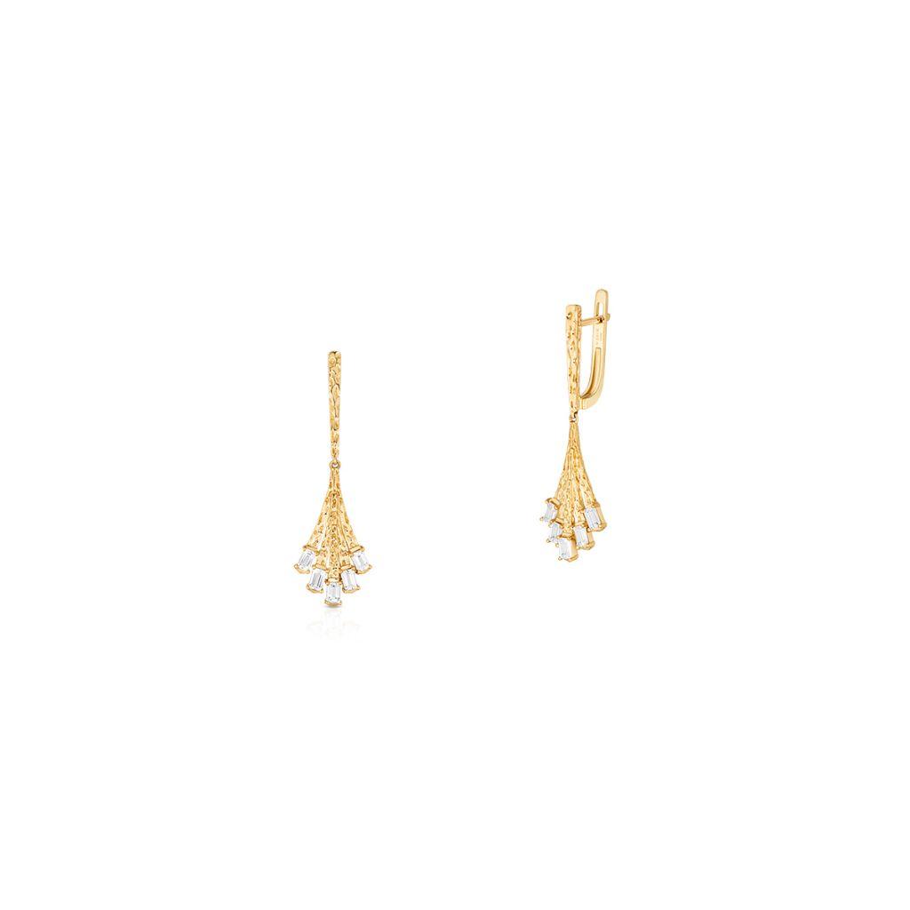 W.KRUK Piękne Złote Kolczyki – złoto 375, Biały topaz – ZDL/KT19