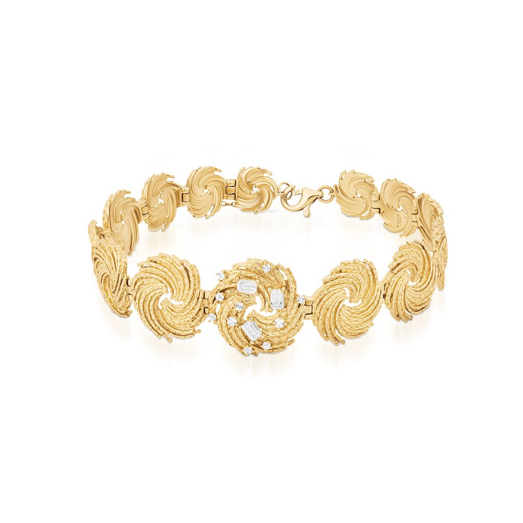 W.KRUK Wspaniała Złota Bransoletka – złoto 375, Biały topaz – ZDL/AT14