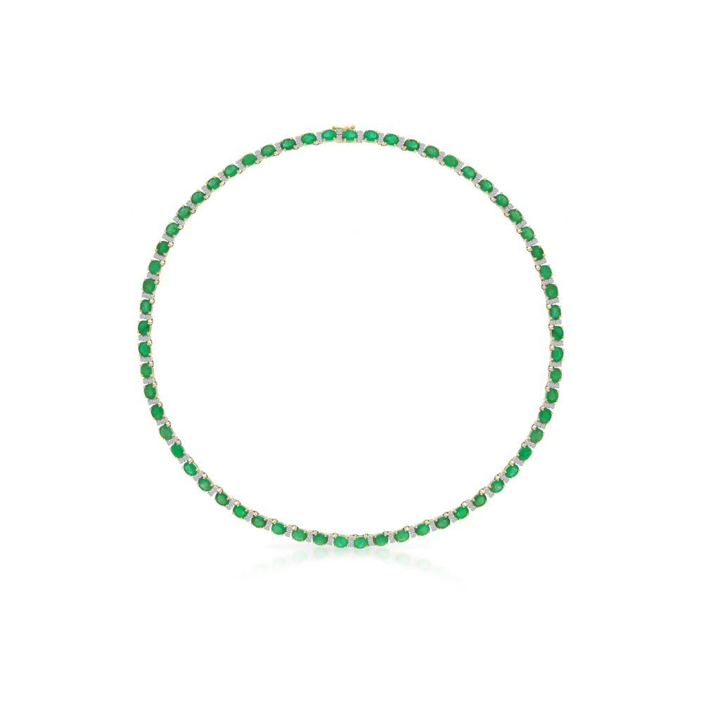 Piękny Naszyjnik - złoto 585, Diament 0,85ct                                 ,                      szmaragd