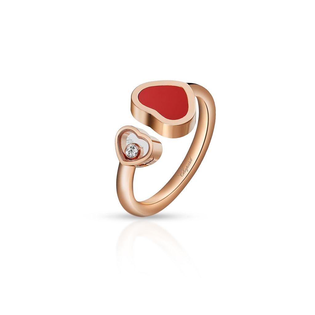 W.KRUK Pierścionek różowe złoto HAPPY HEARTS Chopard – ZPD/PB+38R /14U014