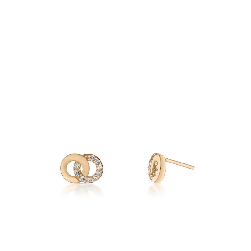 W.KRUK Piękne Kolczyki Złote – złoto 375, Cyrkonia – ZIO/KC36