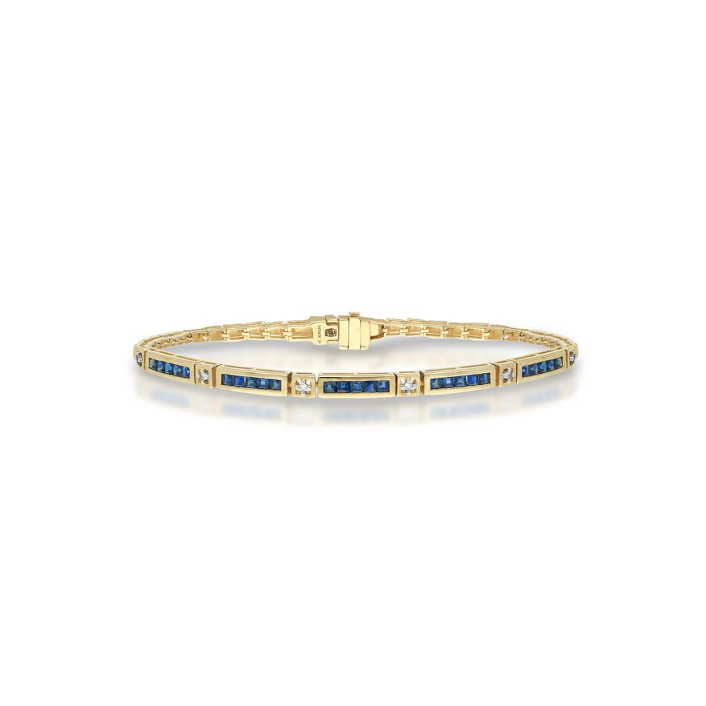 W.KRUK Bransoletka Złota – złoto 585, Diament 0,06ct,szafir – ZIN/AB+281