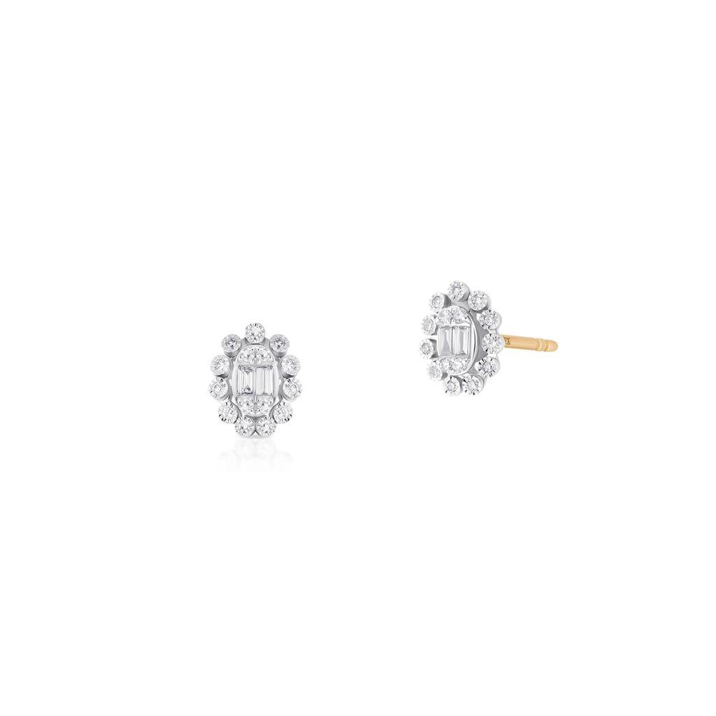 W.KRUK Unikalne Złote Kolczyki – złoto 585, Diament 0,17ct – ZPA/KB+459K