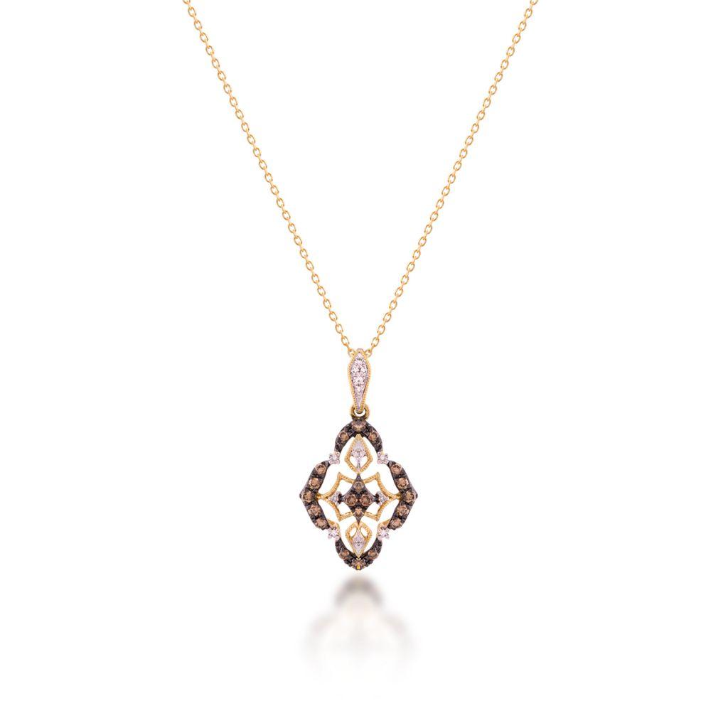 W.KRUK Wspaniały Wisiorek Złoty – złoto 585, Brązowy brylant 0,20ct,diament 0,03ct – ZFX/WB+02
