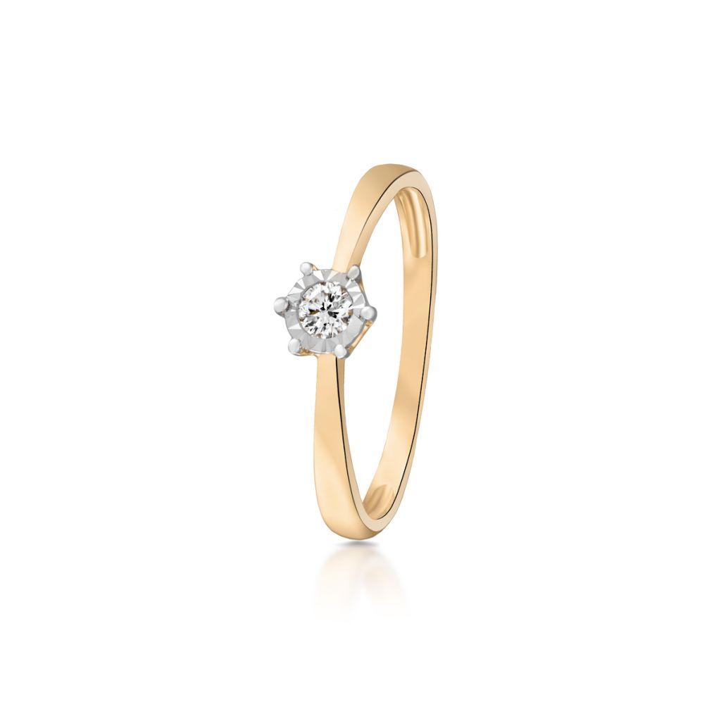 W.KRUK Złoty Pierścionek – złoto 585, Brylant 0,10ct – ZCG/PB+982K