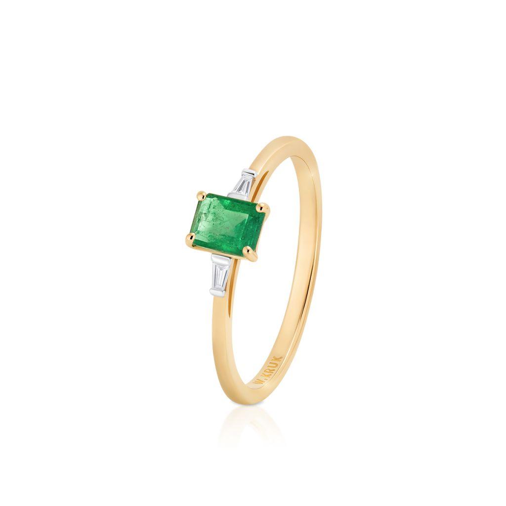 W.KRUK Złoty Pierścionek – złoto 585, Diament 0,03ct,szmaragd – ZIN/PB+373K