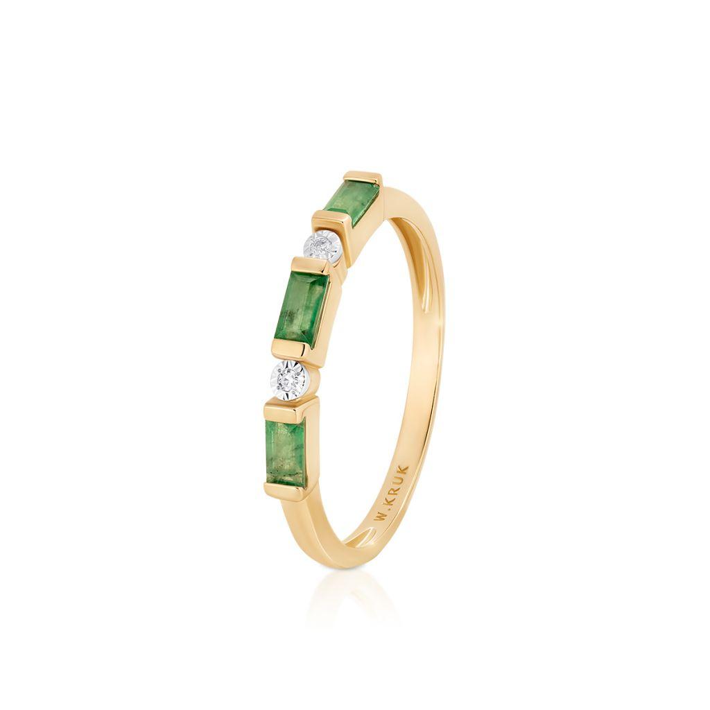 W.KRUK Unikalny Złoty Pierścionek – złoto 585, Diament 0,01ct,szmaragd – ZIN/PB+364K