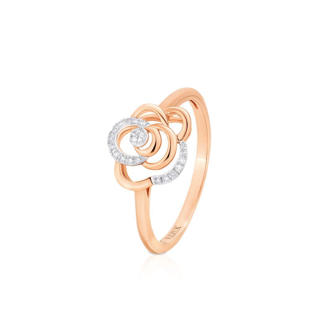 W.KRUK Wyjątkowy Pierścionek Złoty – złoto 585, Diament 0,05ct – ZUF/PB+07BK
