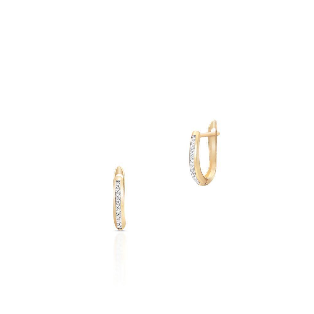 W.KRUK Wspaniałe Złote Kolczyki – złoto 375, Cyrkonia – ZIH/KC131BK