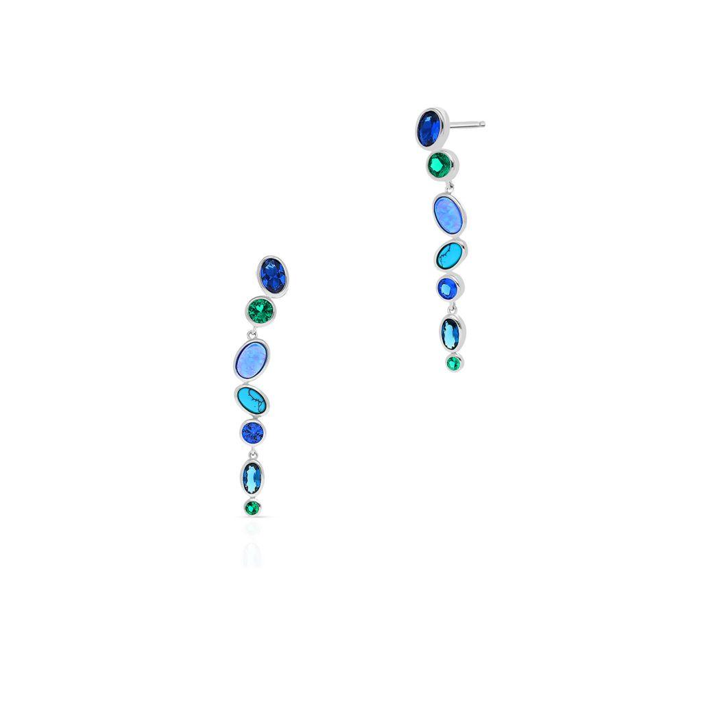 W.KRUK Zjawiskowe Srebrne Kolczyki – srebro 925, Cyrkonia , opal syntetyczny…