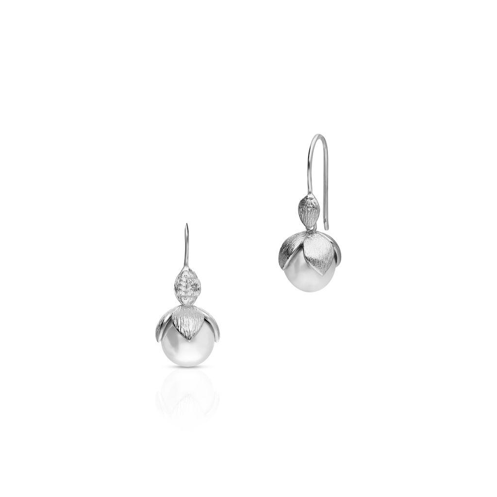 W.KRUK Wyjątkowe Kolczyki Srebrne – srebro 925, Perła imitacja – SHX/KP005