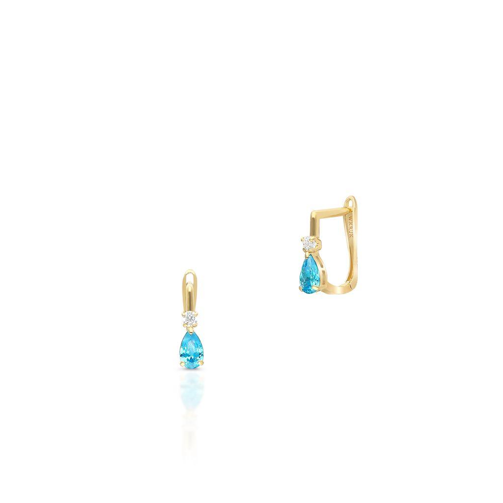 W.KRUK Unikalne Złote Kolczyki – złoto 375, Cyrkonia – ZIH/KC40