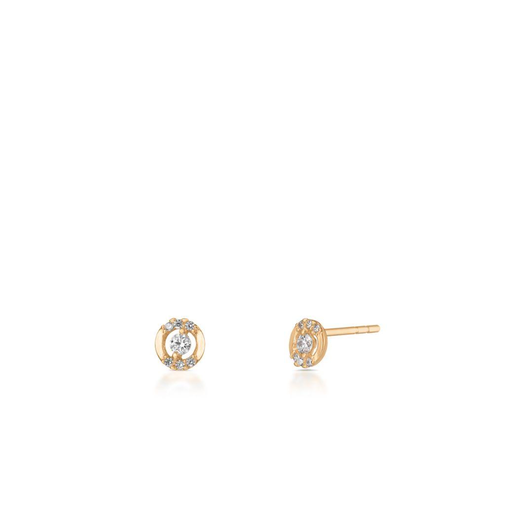 W.KRUK Kolczyki Złote – złoto 585, Cyrkonia – ZNN/KC136