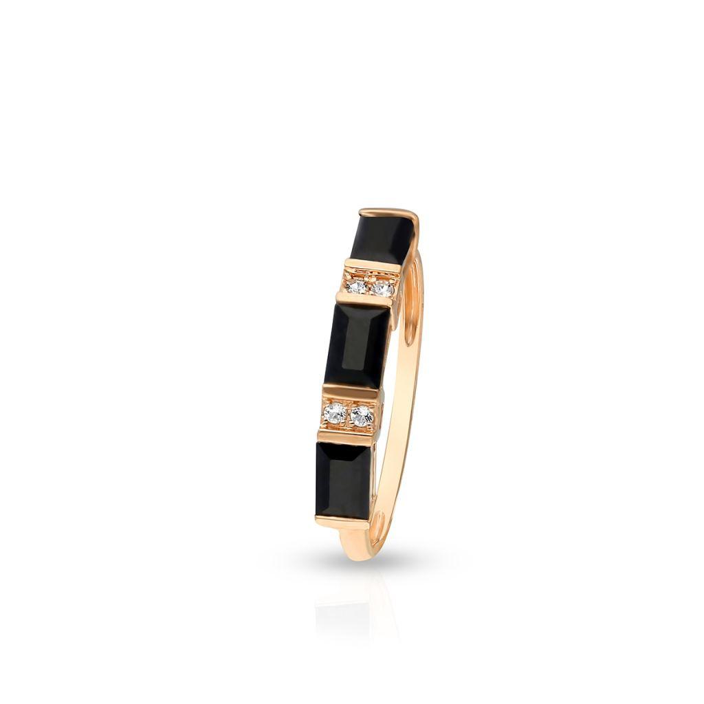 W.KRUK Pierścionek Złoty – złoto 585, Czarny szafir,biały topaz – ZDL/PW38R