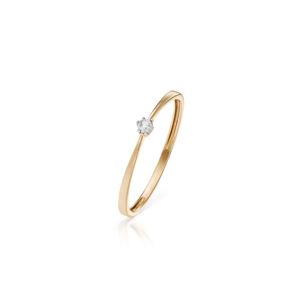 W.KRUK Wspaniały Złoty Pierścionek – złoto 585, Brylant 0,005ct – ZCG/P+1016K