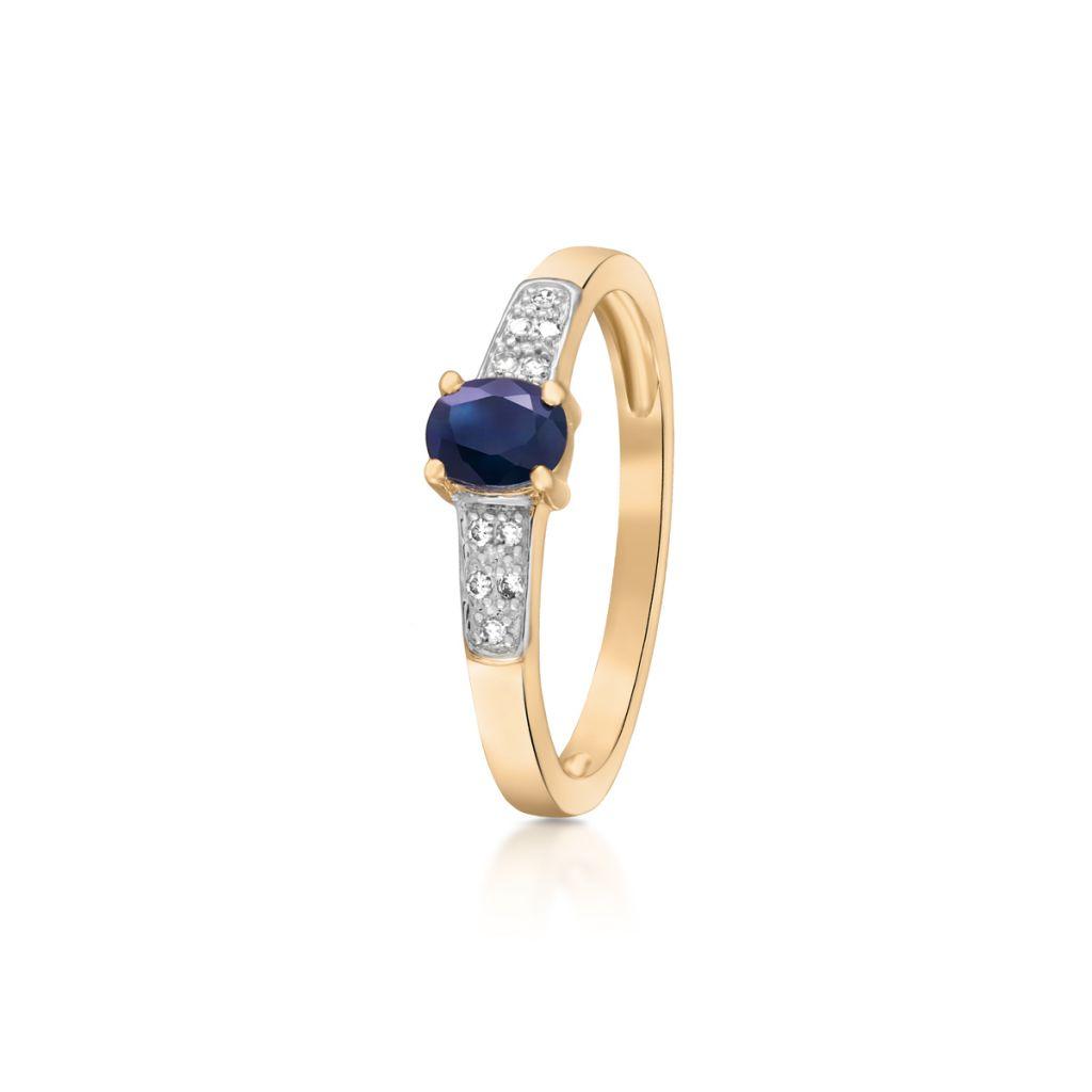 W.KRUK Zjawiskowy Złoty Pierścionek – złoto 585, Diament 0,05ct,szafir – ZIN/PB+293