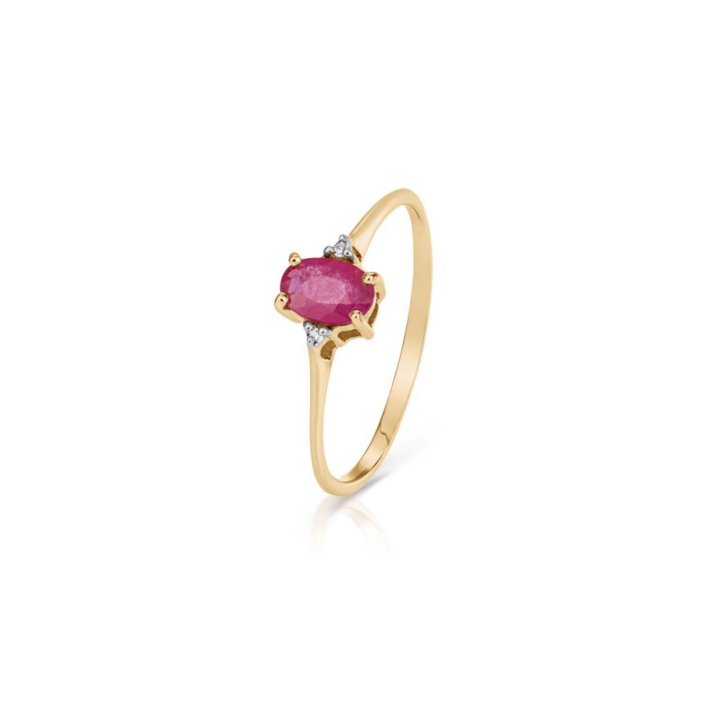 W.KRUK Piękny Złoty Pierścionek – złoto 585, Diament 0,01ct,rubin – ZHH/PB+45BK