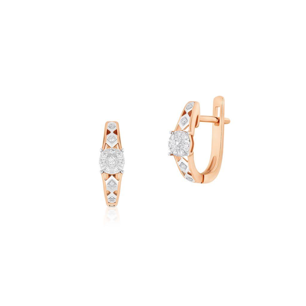 W.KRUK Piękne Kolczyki Złote – złoto 585, Brylant 0,09ct,diament 0,02ct – ZUF/KB+11BK