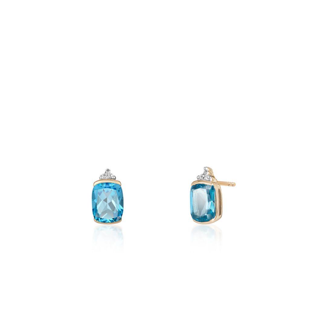 W.KRUK Złote Kolczyki – złoto 375, Topaz swiss blue,biały topaz – ZHH/KT05