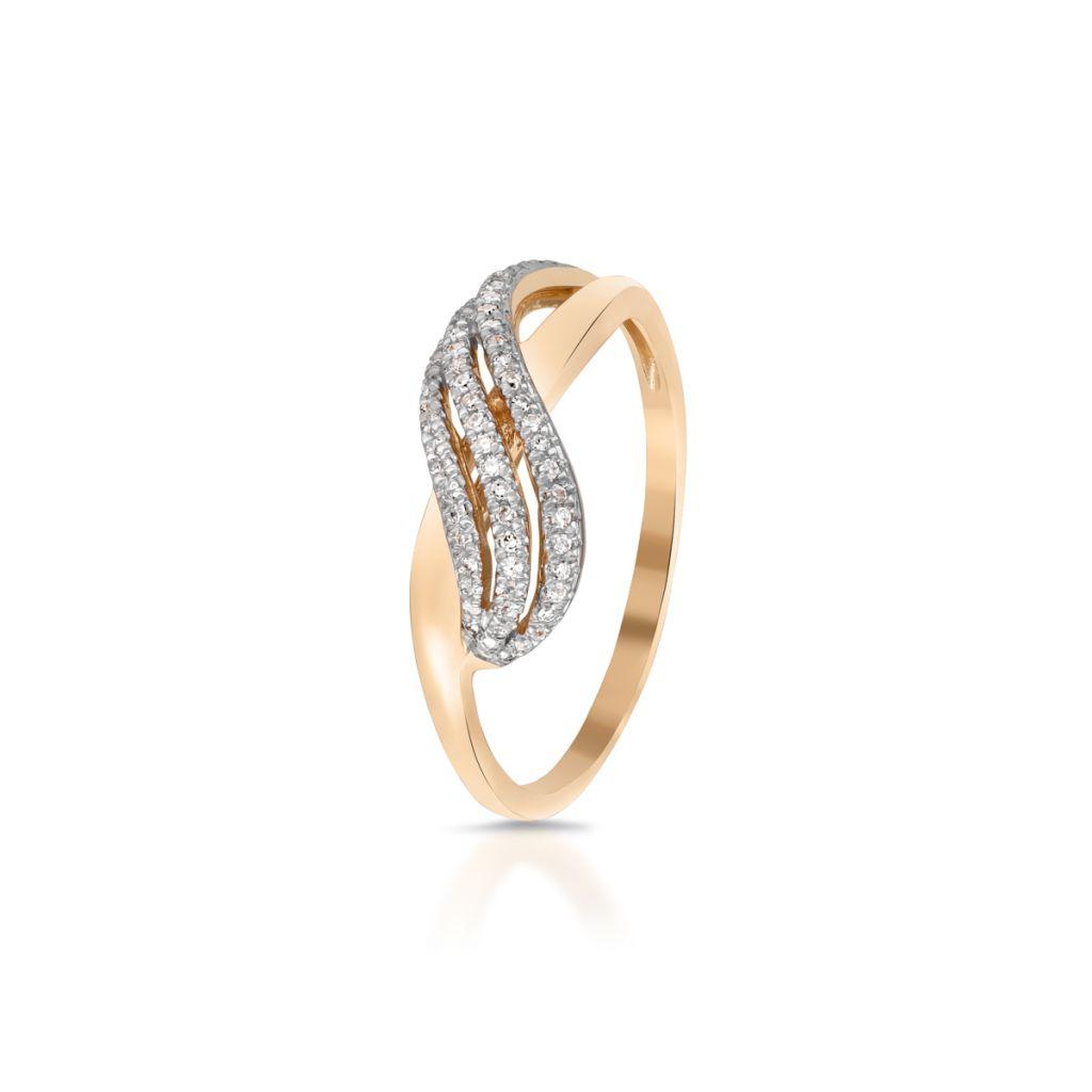 W.KRUK Wspaniały Złoty Pierścionek – złoto 585, Diament 0,13ct – ZDL/PB+09BK