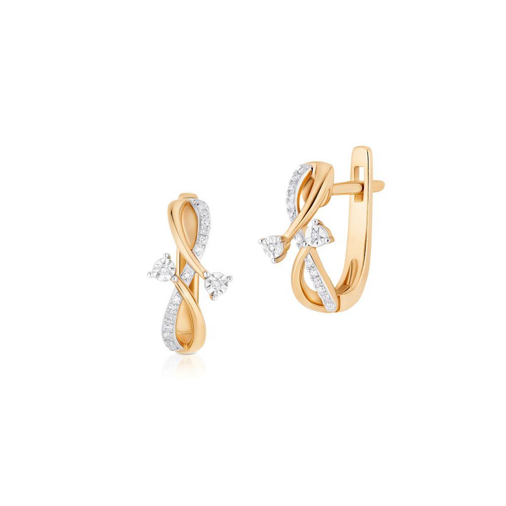 W.KRUK Kolczyki Złote – złoto 585, Diament 0,07ct – ZUF/KB+09BK