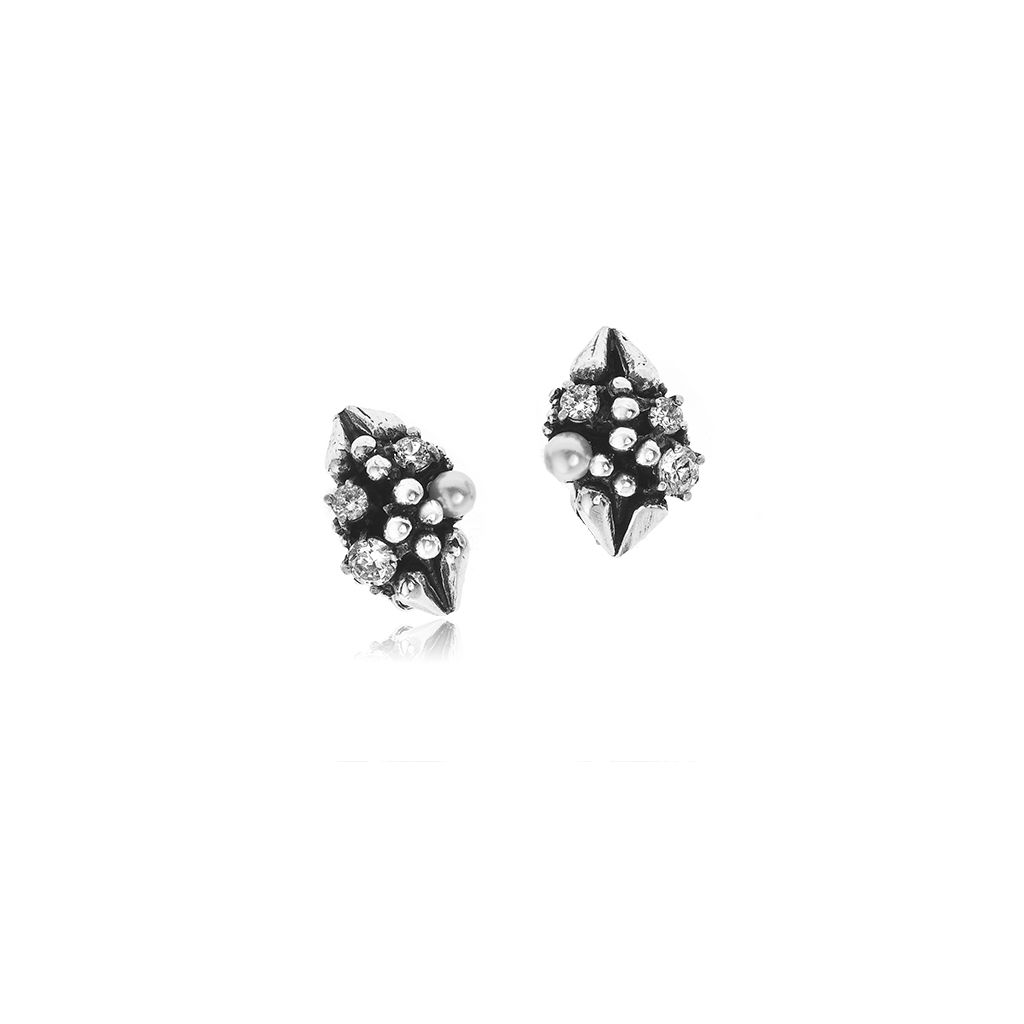 W.KRUK Zjawiskowe Klipsy Srebrne – srebro 925, Cyrkonia,perła – WWK/ES08409