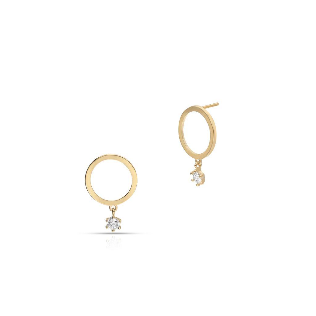 W.KRUK Piękne Kolczyki Złote – złoto 375, Cyrkonia – ZIH/KC93
