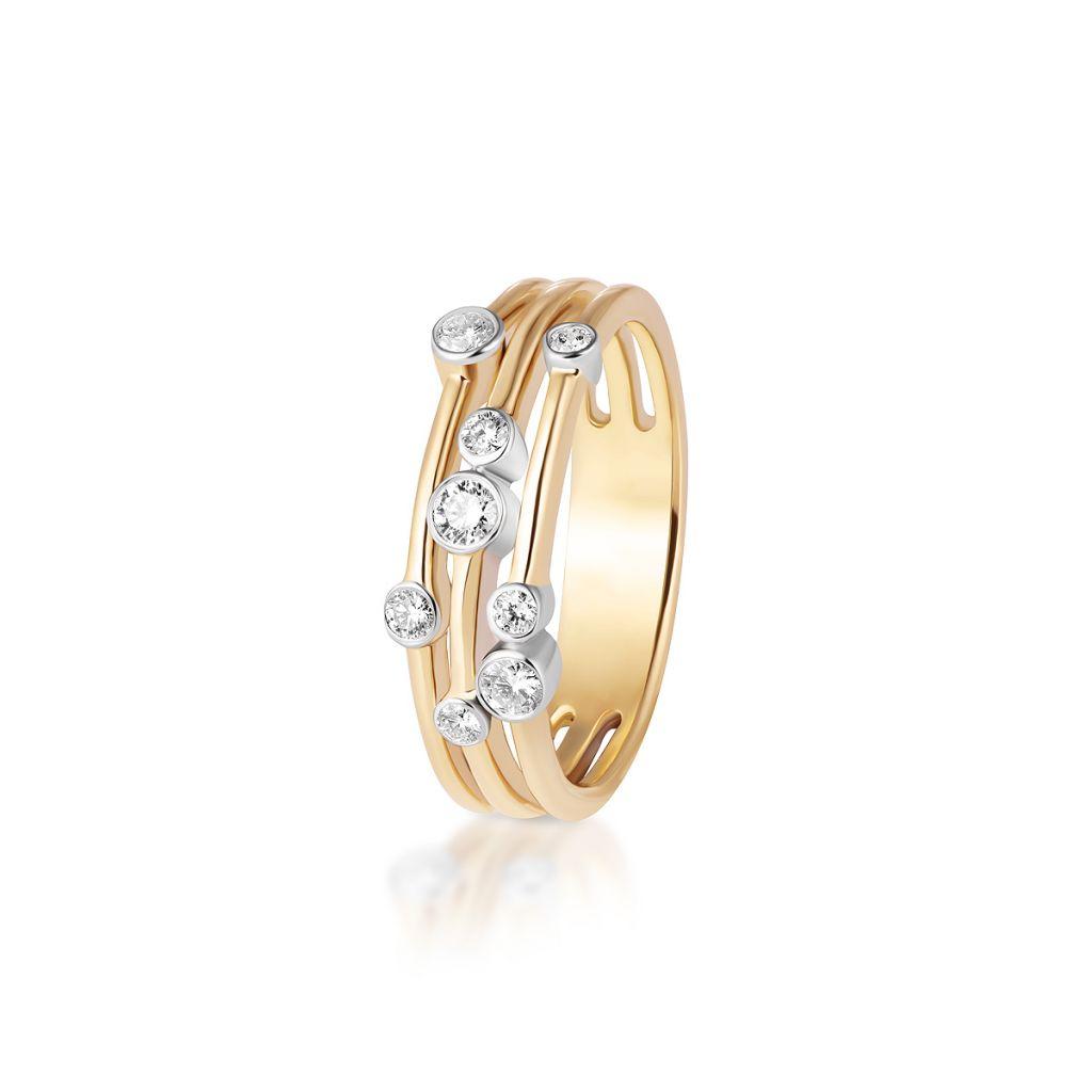 W.KRUK Wyjątkowy Złoty Pierścionek – złoto 585, Brylant 0,24ct – ZCG/PB+906K