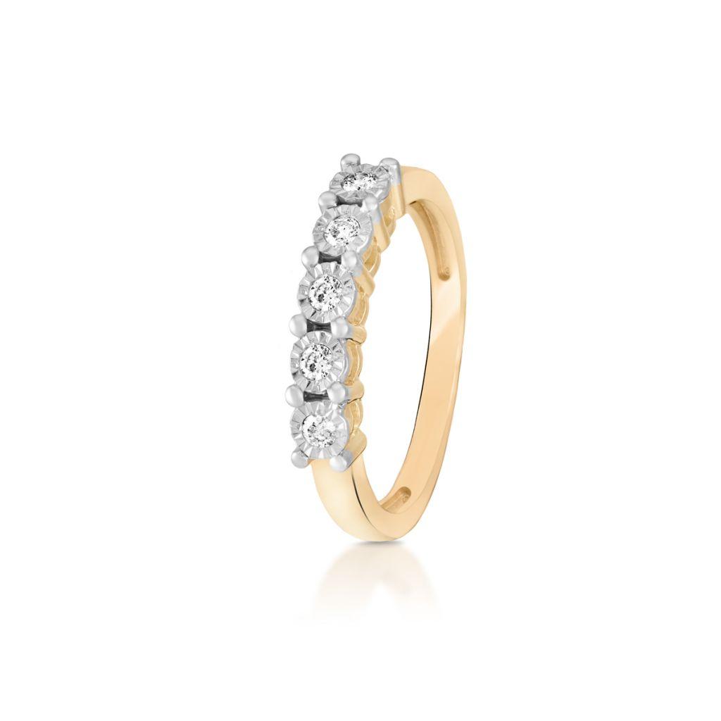 W.KRUK Unikalny Złoty Pierścionek – złoto 585, Brylant 0,15ct – ZPA/PB+336K