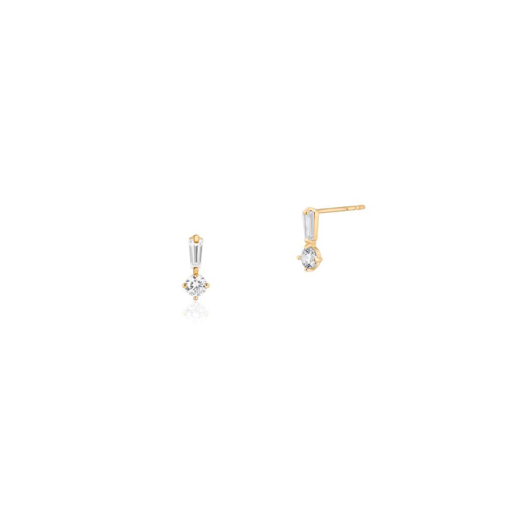 W.KRUK Złote Kolczyki – złoto 375, Cyrkonia – ZIO/KC76