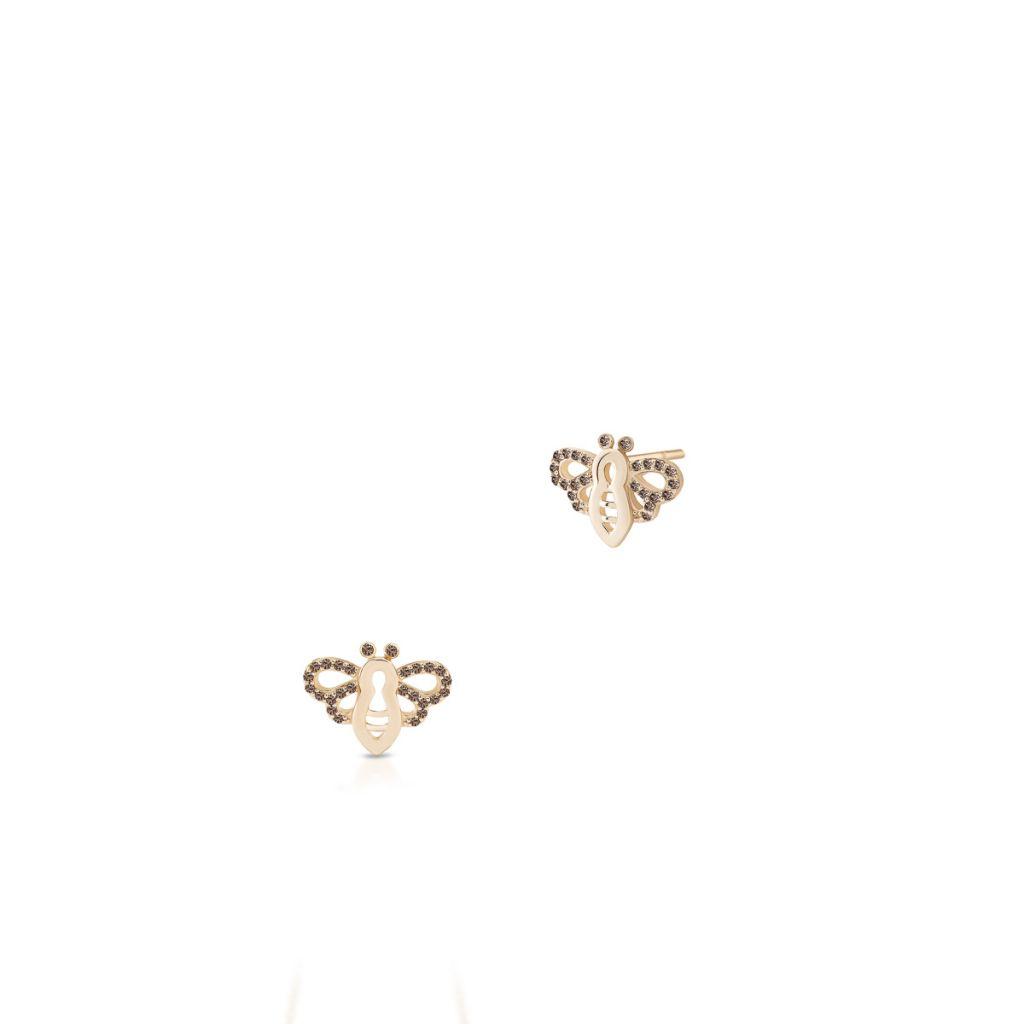 W.KRUK PROMOCJA Złote Kolczyki – złoto 375, Diament 0,19ct – ZHX/KB+01