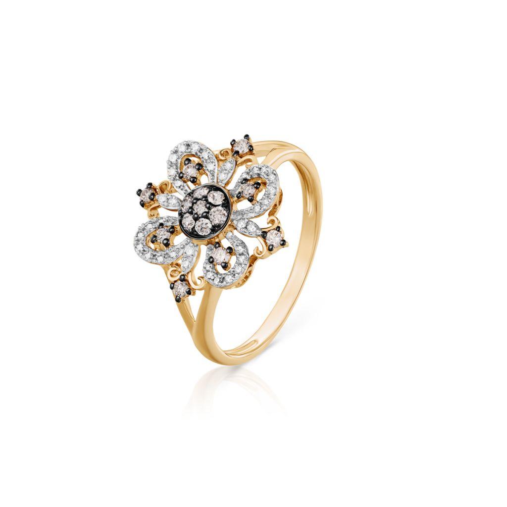 W.KRUK Pierścionek Złoty – złoto 585, Diament 0,11ct,brązowy brylant 0,19ct – ZFX/PB+15BK