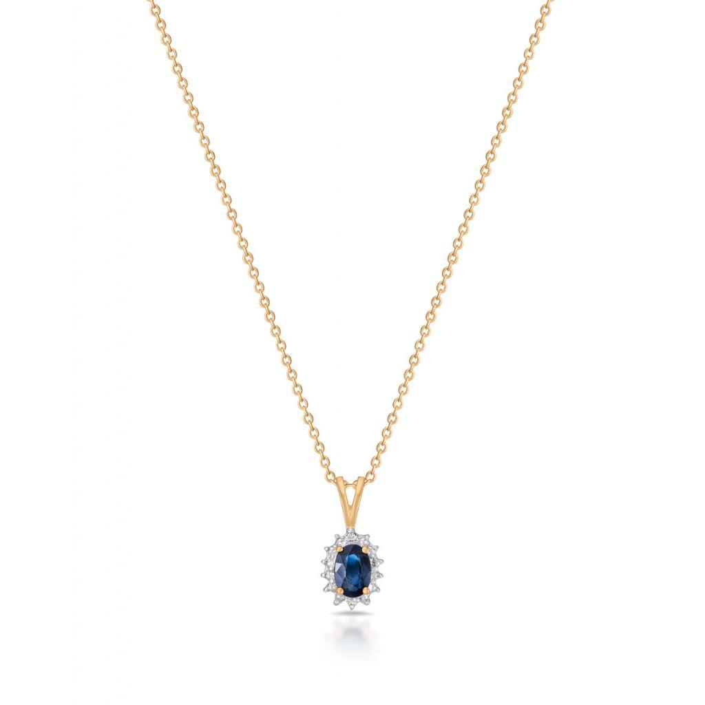W.KRUK Piękny Złoty Wisiorek – złoto 585, Diament 0,006ct,szafir – ZHH/WB+42BK