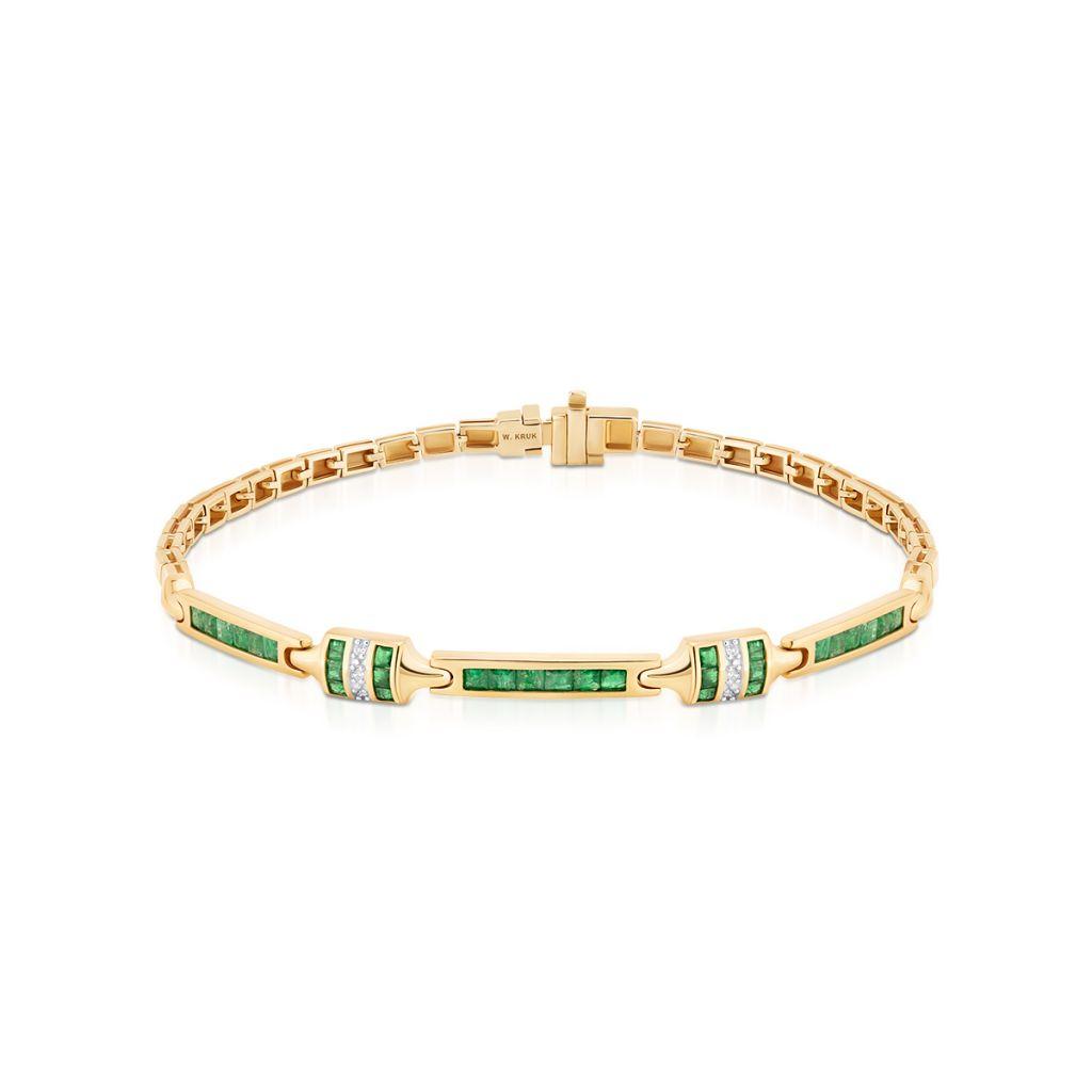 W.KRUK Złota Bransoletka – złoto 585, Diament 0,03ct,szmaragd – ZIN/AB+285