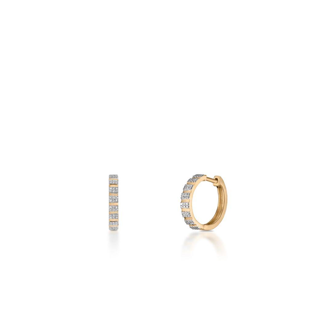 W.KRUK Złote Kolczyki – złoto 585, Diament 0,18ct – ZPA/KB+353