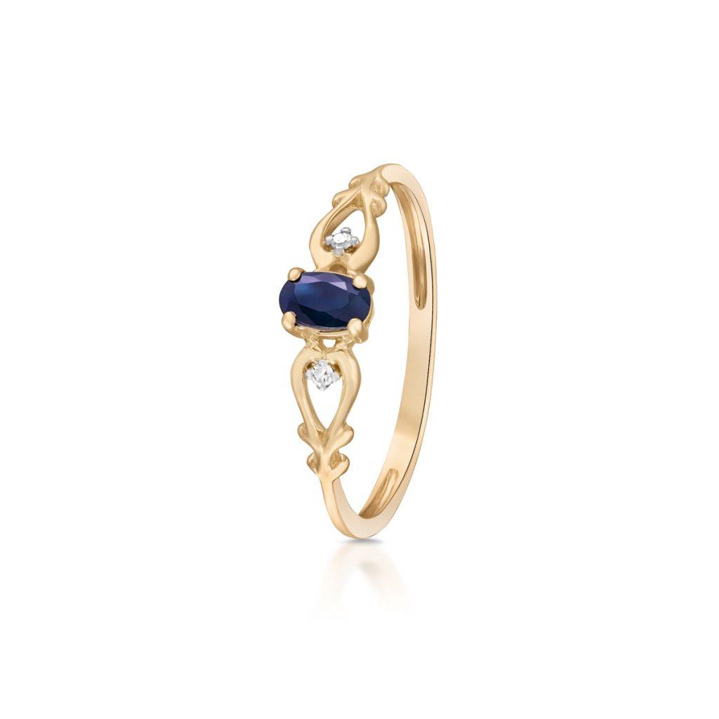 W.KRUK Piękny Pierścionek Złoty – złoto 375, Diament 0,01ct,szafir – ZIN/PB+291