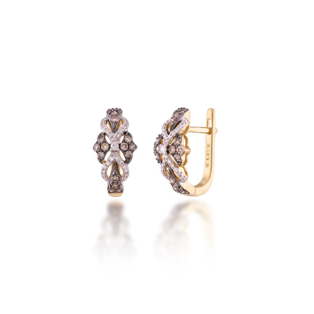 W.KRUK Wyjątkowe Kolczyki Złote – złoto 585, Brylant 0,03ct,brązowy brylant 0,40ct…