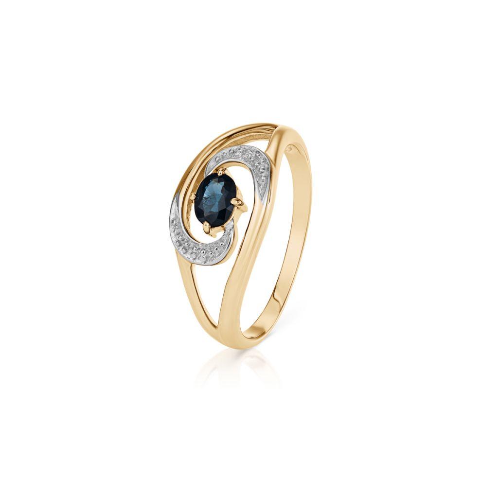 W.KRUK RABAT Pierścionek Złoty – złoto 585, Diament 0,006ct,szafir – ZHH/PB+41BK