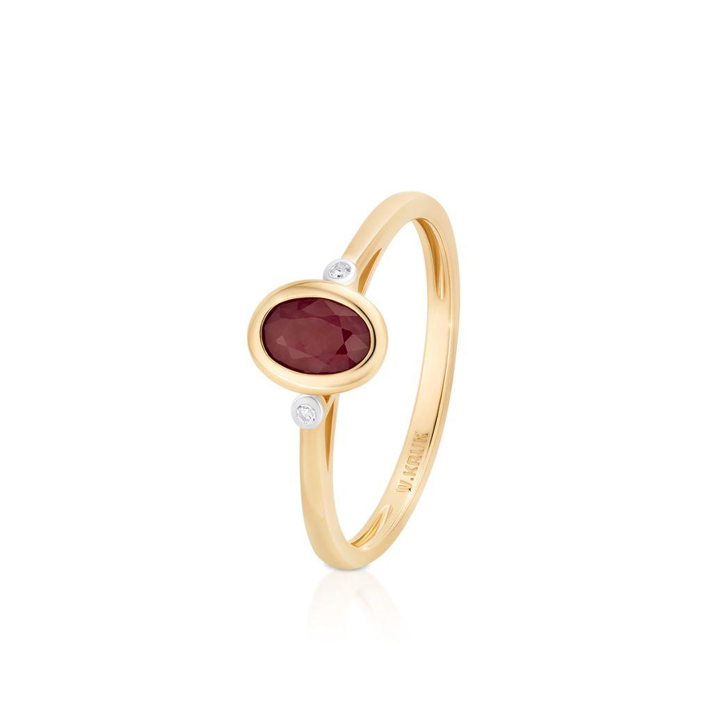 W.KRUK Wspaniały Złoty Pierścionek – złoto 585, Diament 0,01ct,rubin – ZIN/PB+374K