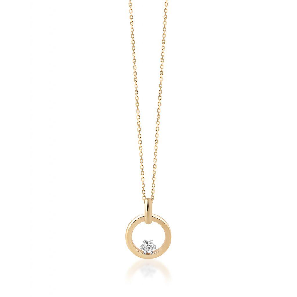 W.KRUK Piękny Złoty Wisiorek – złoto 375, Cyrkonia – ZRC/WC46BK
